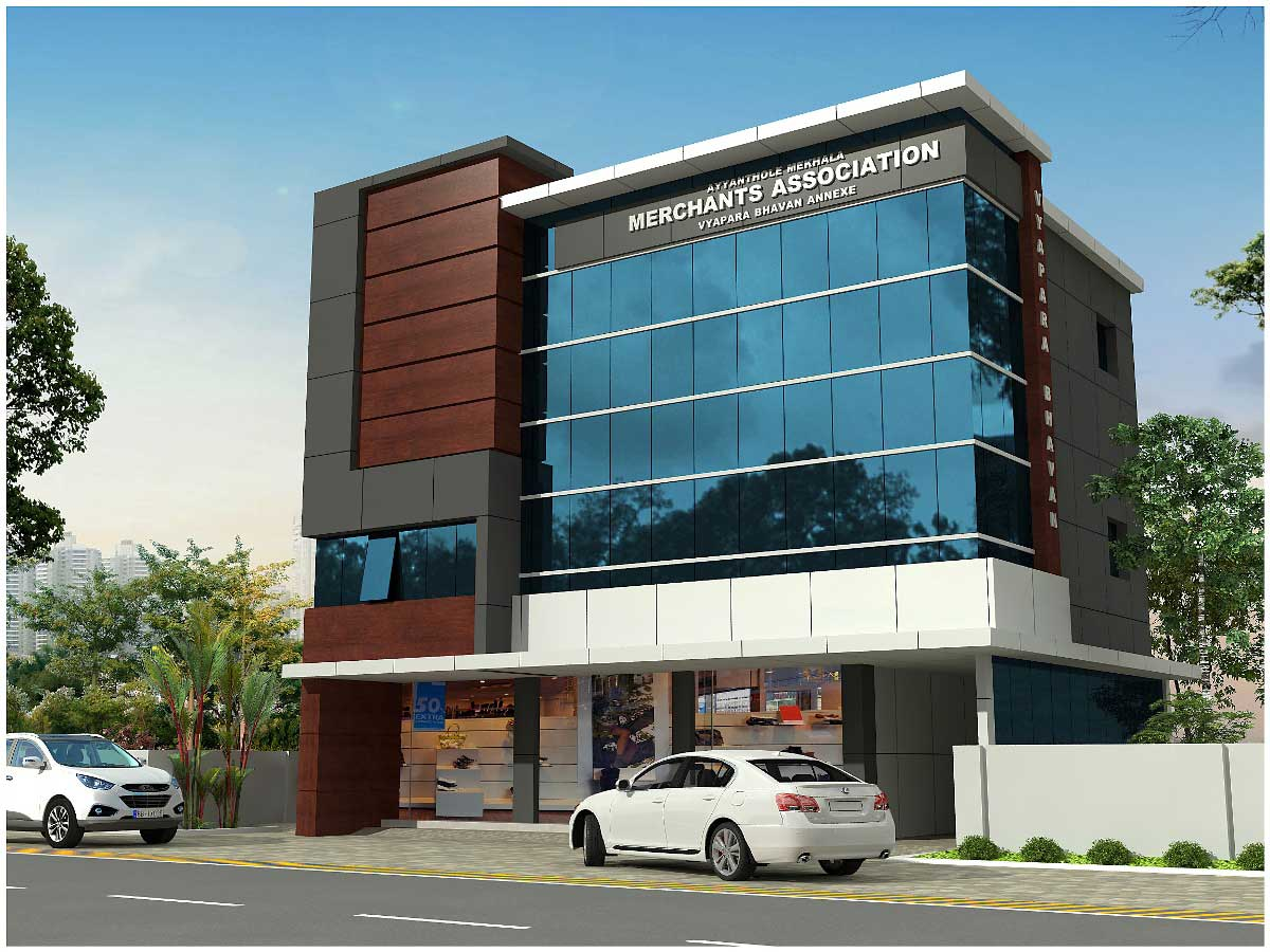 Acp Front Elevation Showroom Design : Vyapara bbhavan olarikkara thrissur alufab glazetech